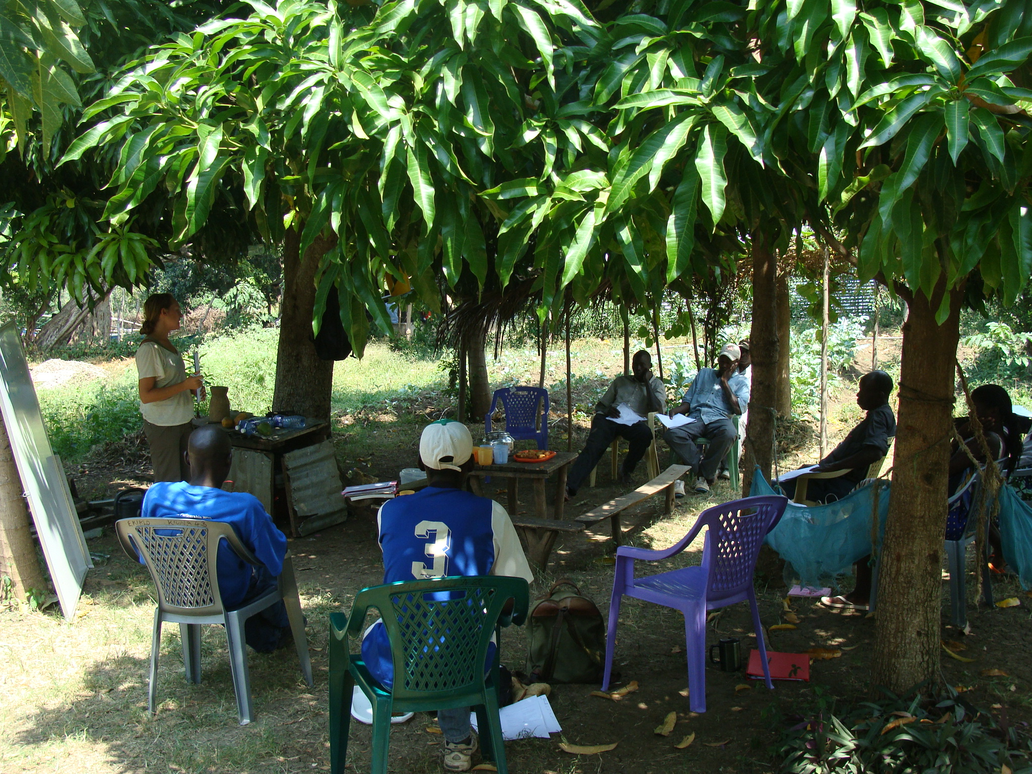 Organic agriculture training session for local farmers at EK Demonstration Farm, 2012