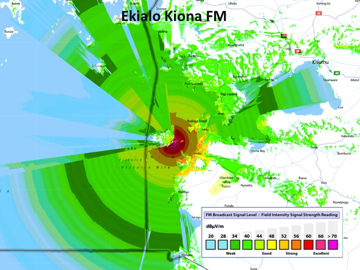 Radio Broadcast Map from EK FM transmitter site on Soklo Mountain, Courtesy of Equal Access