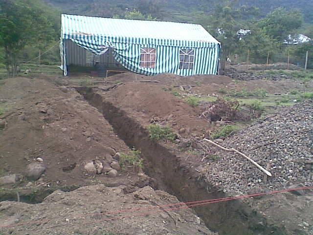 Foundation Trenches and the Original EK Tent, February 2009