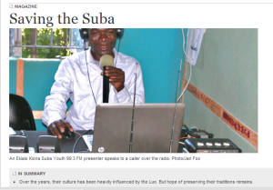 This East African Magazine article highlights EK Radio and the impact on Suba culture.