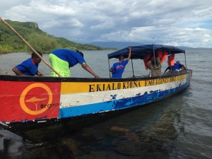 Health Navigators board the EK Emergency boat (the only 24/7 emergency transportation option on the island), for the official launch into Lake Victoria!